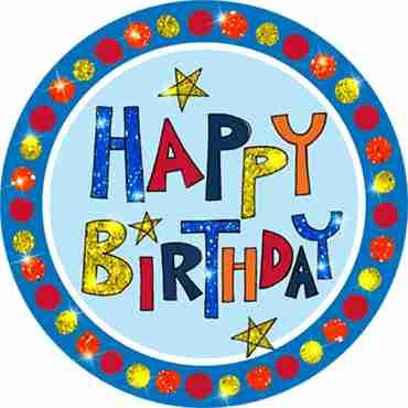 Happy Birthday Multi-Coloured Badge