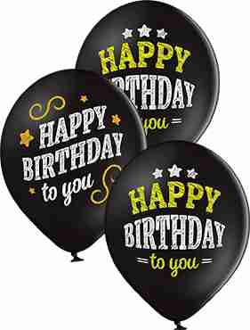 Happy Birthday Pastel Black Latex Round 12in/30cm