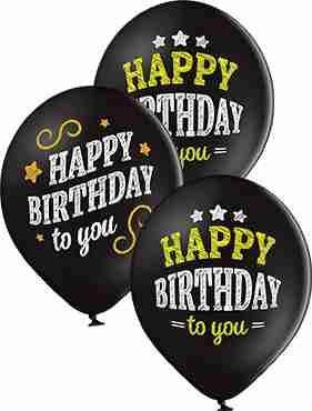 Happy Birthday Pastel Black Latex Round 12in/30cm