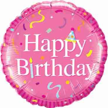 Happy Birthday Pink Foil Round 18in/45cm