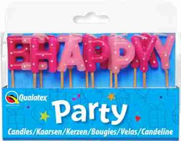 Happy Birthday Pink Pick Stick Candles