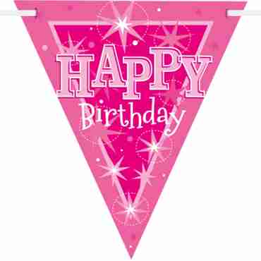 happy birthday pink sparkle bunting 3.6m