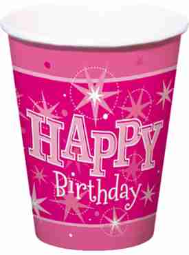 happy birthday pink sparkle cups