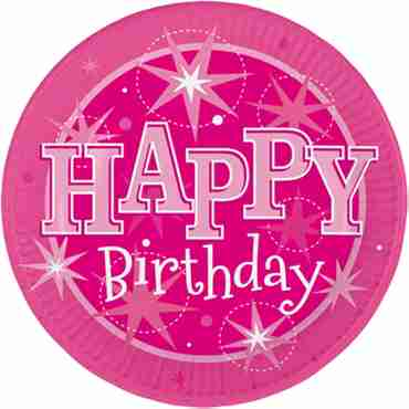happy birthday pink sparkle paper plates
