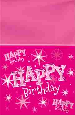 happy birthday pink sparkle table cover