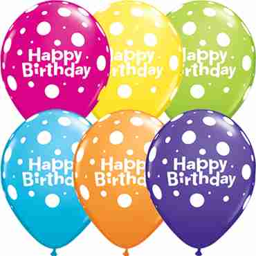 happy birthday polka dot tropical assortment latex round 11in/27.5cm