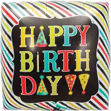 Happy Birthday Props Foil Square 18in/45cm