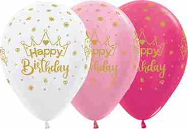 Happy Birthday Radiant Assortment with Metallic Ink Latex Round 11in/27.5cm
