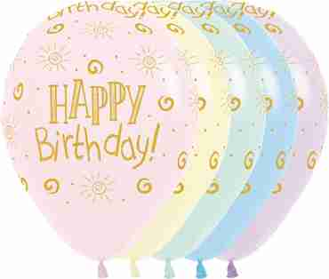 Happy Birthday Sun Pastel Matte Assortment Latex Round 11in/27.5cm
