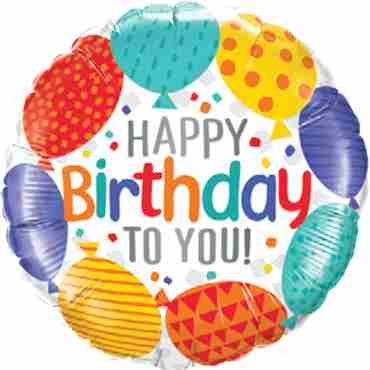 happy birthday to you balloons foil round 18in/45cm