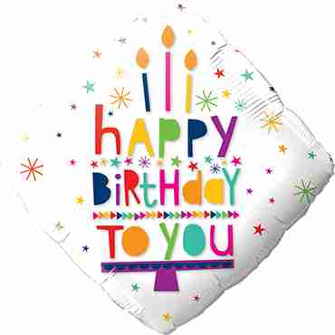 Happy Birthday To You Candles Foil Diamond 18in/45cm
