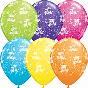 happy birthday tropical assortment latex round 11in/27.5cm