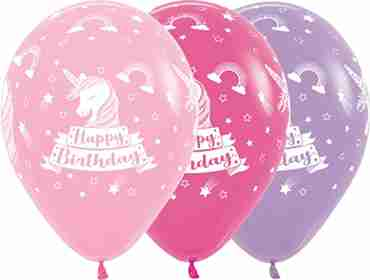 Happy Birthday Unicorn Bubblegum Pink, Fuchsia, Lilac Latex Round 11in/27.5cm