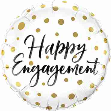 Happy Engagement Gold Dots Foil Round 18in/45cm