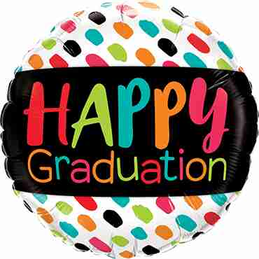 Happy Graduation Colour Dabs Foil Round 18in/45cm