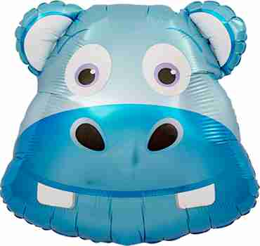 Happy Hippo Head Foil Shape 14in/35cm