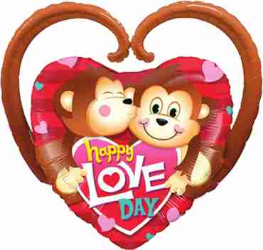 happy love day monkeys foil shape 39in/99cm