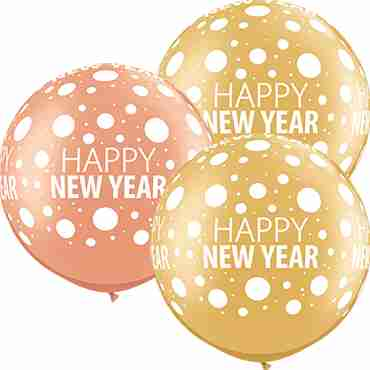 Happy New Year Dots Metallic Rose Gold and Metallic Gold Assortment Latex Round 30in/75cm