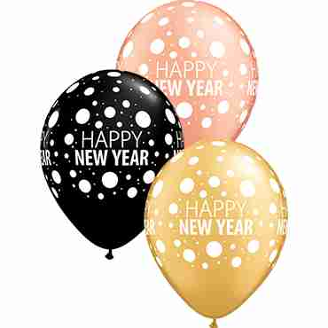 Happy New Year Dots Metallic Rose Gold, Fashion Onyx Black and Metallic Gold Assortment Latex Round 11in/27.5cm