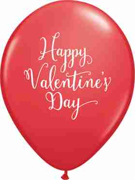 Happy Valentine's Day Script Standard Red Latex Round 11in/27.5cm