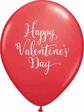 Happy Valentine's Day Script Standard Red Latex Round 11in/27.5cm