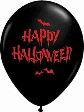 Haunted Halloween Bats Fashion Onyx Black Latex Round 11in/27.5cm