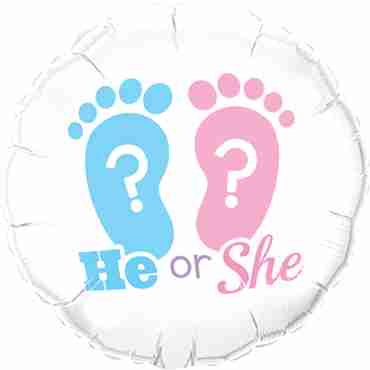 he or she? footprints foil round 18in/45cm