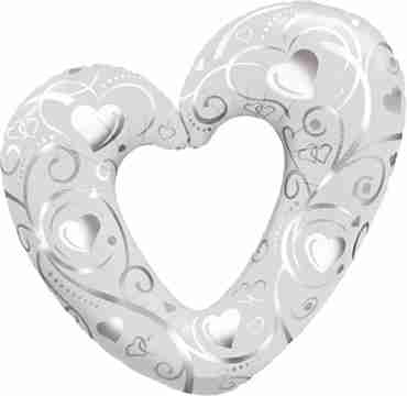 hearts and filigree pearl white foil shape 42in/107cm