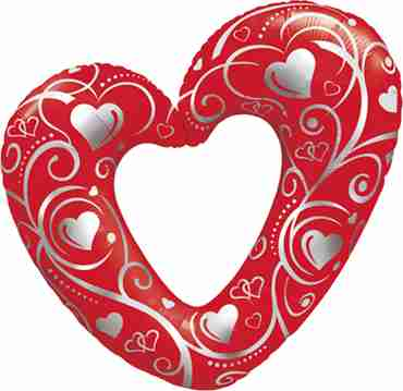 hearts and filigree red foil shape 42in/107cm