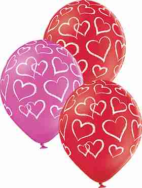Hearts Pastel Red and Pastel Rose Assortment Latex Round 12in/30cm