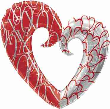 Hearts Pattern Foil Shape 30in/76cm x 32in/81cm