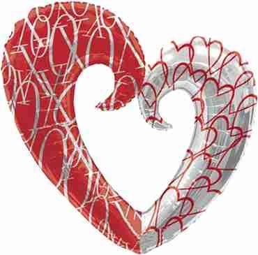 Hearts Pattern Foil Shape 30in/76cm x 32in/81cm