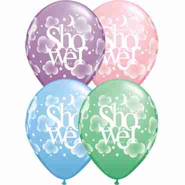 heavenly baby shower pastel assortment latex round 11in/27.5cm