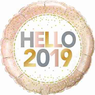 Hello 2019 Foil Round 18in/45cm