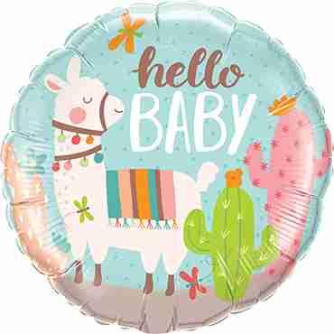 Hello Baby Llama Foil Round 18in/45cm