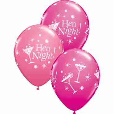 Hen Night Bubbly Fashion Wild Berry and Fashion Rose Assortment Latex Round 11in/27.5cm