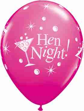 Hen Night Bubbly Fashion Wild Berry Latex Round 11in/27.5cm