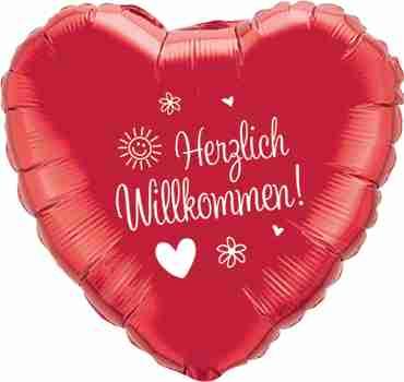 herzlich willkommen! metallic red w/white ink foil heart 18in/45cm