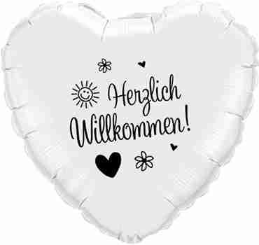 herzlich willkommen! white w/black ink foil heart 18in/45cm