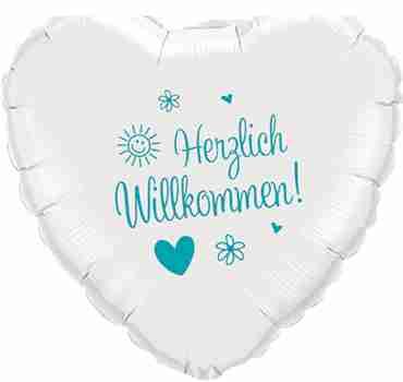 herzlich willkommen! white w/turquoise ink foil heart 18in/45cm