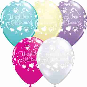 herzlichen glückwunsch hearts crystal diamond clear (transparent), fashion spring lilac, fashion ivory silk, fashion wild berry and fashion caribbean blue assortment latex round 16in/40cm