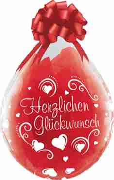 herzlichen glückwunsch hearts crystal diamond clear (transparent) latex round 18in/45cm