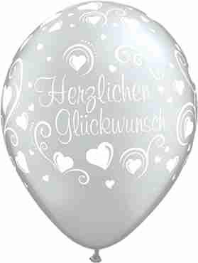 herzlichen glückwunsch hearts metallic silver latex round 11in/27.5cm