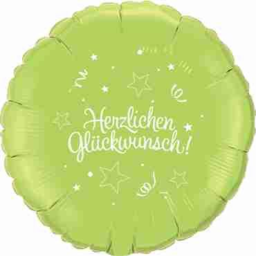 herzlichen glückwunsch lime green w/white ink foil round 18in/45cm