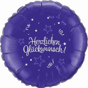 herzlichen glückwunsch quartz purple w/white ink foil round 18in/45cm