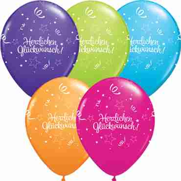 herzlichen glückwunsch shining star standard yellow, fashion lime green, standard orange, standard pink, fashion purple violet, fashion robins egg blue and fashion wild berry assortment latex round 11in/27.5cm