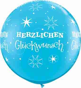 herzlichen glückwunsch sparkle fashion robins egg blue latex round 36in/90cm