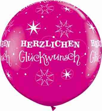 herzlichen glückwunsch sparkle fashion wild berry latex round 36in/90cm
