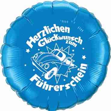 herzlichen glückwunsch zum führerschein sapphire blue w/white ink foil round 18in/45cm