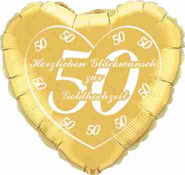 herzlichen glückwunsch zur goldhochzeit gold w/white ink foil heart 18in/45cm